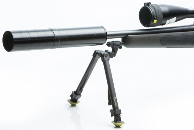 NeoPod silncer adapter on gun with bipod deployed